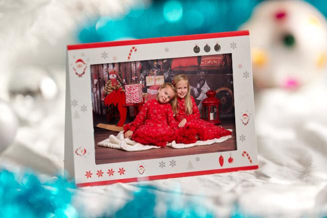 Kartka świąteczna ze zdjęciem z miejscem na życzenia
